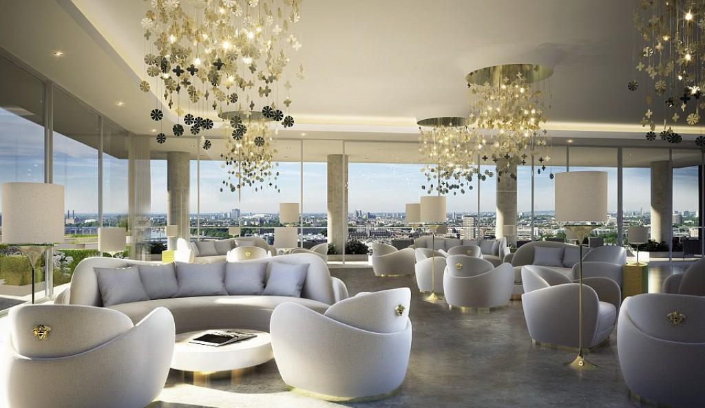 Gli interni della torre Aykon Nine Elms progettati da Versace Home
