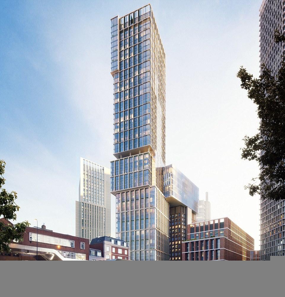 Il rendenring della torre Aykon progettata dallo studio Kohn Pedersen Fox Associates, che si  affaccerà sul Tamigi