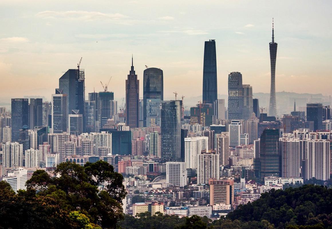 Lo skyline della città di Guangzhou