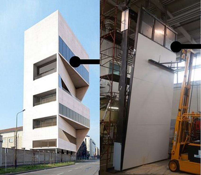 La facciata mobile realizzata da RK Studio: una parete di 21 metri quadri, 7 metri di altezza e 3 di larghezza
