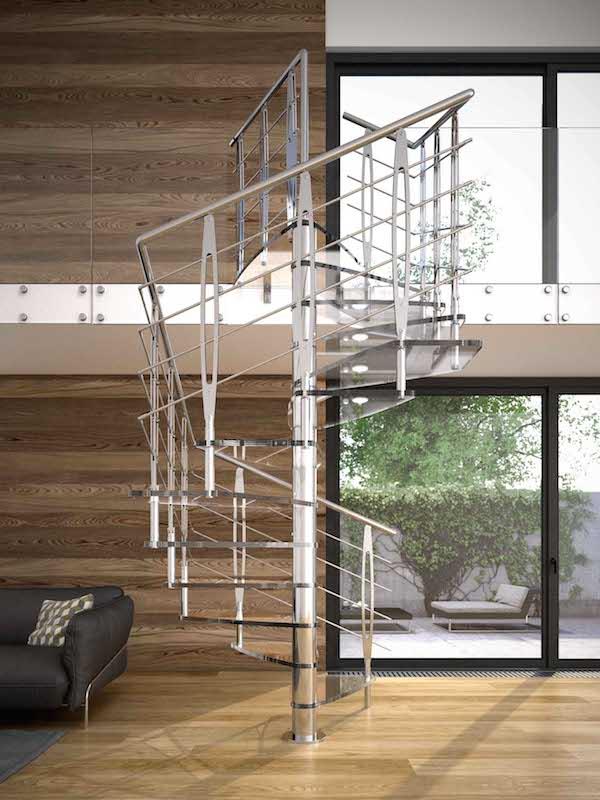 Tekla glass la scala a chiocciola quadrata di rintal for La scala a chiocciola