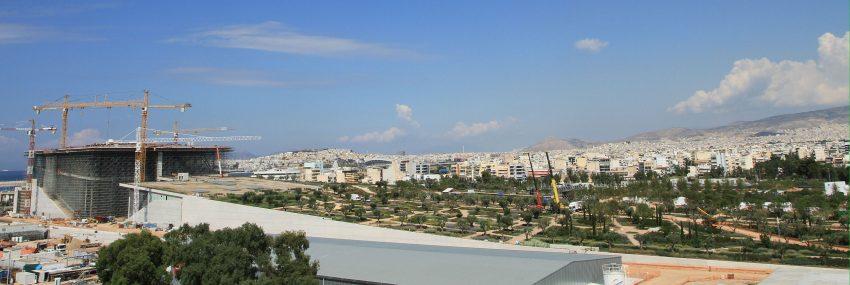 Panoramica delle gru Niederstätter, Renzo Piano - Atene