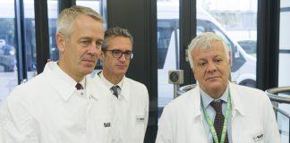 Il ministro dell'Ambiente, Gian Luca Galletti, in visita nel quartier generale Basf a Ludwigshafen, in Germania