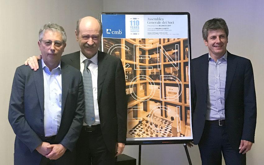 Da sinistra, Fabio Cambiaghi, responsabile dello Sviluppo Immobiliare di Cmb, il presidente, Carlo Zini, e Emiliano Cacioppo consigliere delegato di Cmb
