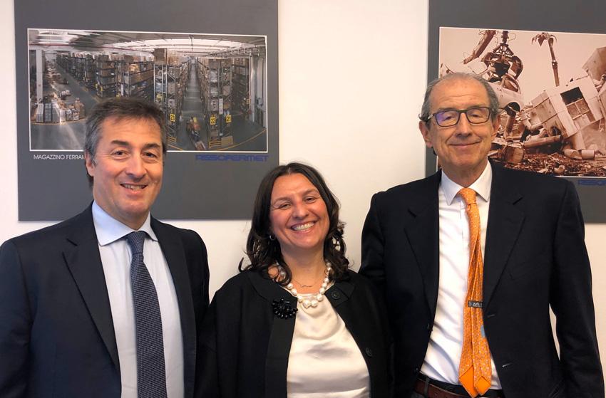 Da sinistra, Thomas Rosolia amministratore delegato di Koelnmesse Italia, Sabrina Canese, presidente Assofermet Ferramenta e Michele Tacchini, vicepresidente