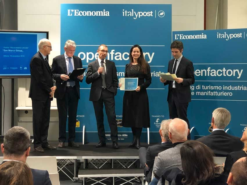 San Marco Group ha ricevuto il Premio Open Factory 2019 Mecenatismo culturale