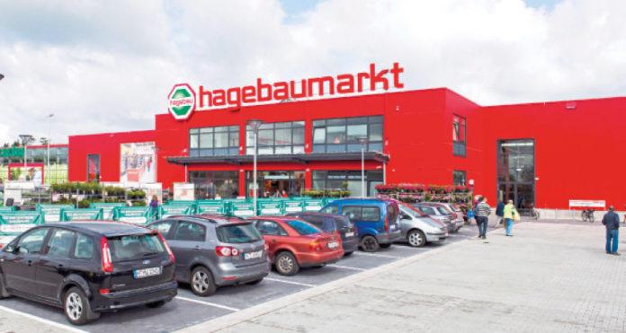 L'immagine coordinata dei punti vendita di Hagebau con il tipico colore rosso