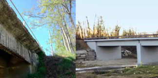 Il ponte della S.P. 160 Della Val Lemme, sul Torrente Riasco nel Comune di Basaluzzo (Alessandria), prima e dopo il ripristino