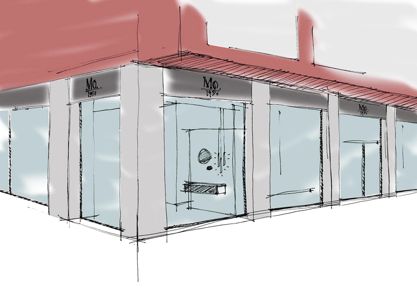 Bozzetto del flagship store Quadrodesign